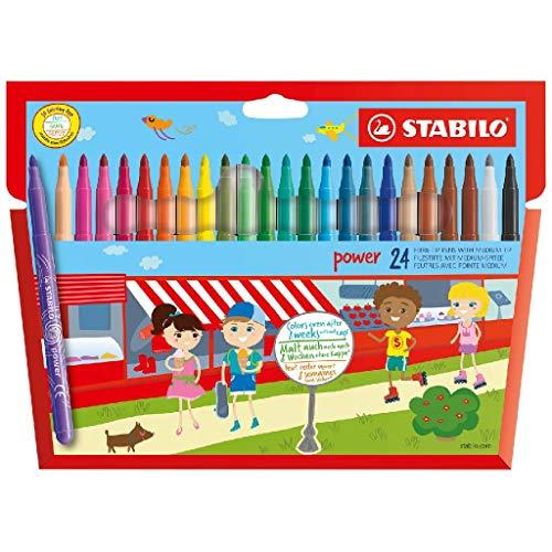Pennarello - STABILO power - Punta Media - Confezione da 24 - Colori assortiti