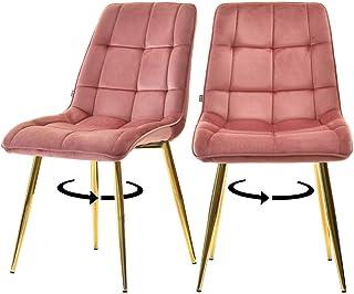Selsey Briare - Juego de 2 sillas tapizadas - Rosa sobre Base Dorada - giratoria – Glamour