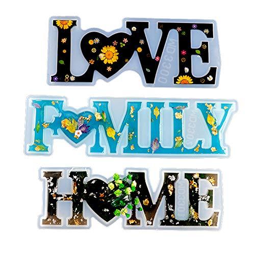 3 stampi in silicone per fai da te, decorazione per la tavola, kit di stampi per decorazioni fai da te in resina epossidica per la tavola, con scritta in lingua inglese love home family