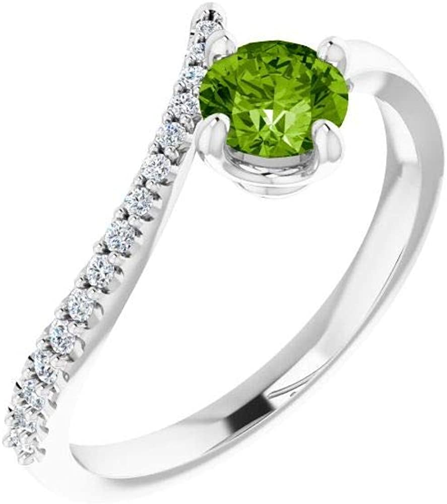 Solid 14k White Gold Peridot and 1/10 Cttw Diamond Bypass Ring Band (.10 Cttw) (Width = 11.2mm)