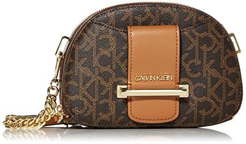 Calvin Klein Chained Signature Top Zip Crossbody, Brown/Khaki