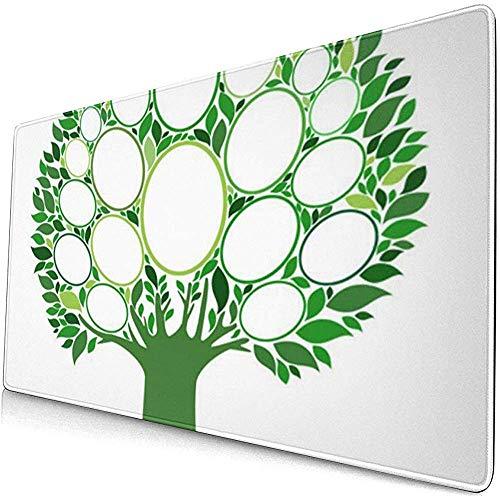 Alfombrillas de ratón extendidas para Juegos con Base de Goma Antideslizante Ancestry Verde Marcos del árbol genealógico Vacíe su Entrada 30X80 cm