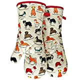 RED LMLDETA Oven Mitts, Cotton Fashion Cute Dog Design, 1pair, Heat Resistant Oven Gloves, Safe Cooking Baking, Grilling, Barbecue, Machine Washable,Pot Holders (Oven Mitts Dog Flower)