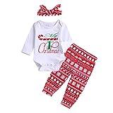 Disfraz Navidad Niños Conjunto de Ropa Bebe Niño Invierno Pijama Navideño Bodies Manga Larga + Pantalones + Diadema Ropa Bebe Niña Recien Nacido Traje Primer Cumpleaños Niñas
