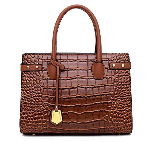 Tisdaini® Damenhandtaschen Mode Hohe Kapazität Kroko Schultertaschen PU Leder Shopper Umhängetaschen Braun
