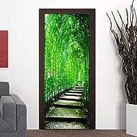 3Dドア壁画アートステッカー 3Dウォールドアステッカーグリーンフォレストパス風景壁紙装飾ドアウォールステッカー壁画-77Cm(W)* 200Cm(H)