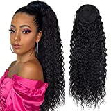 Meepo Curly Ponytail Hair Extensions Synthetic Water Wave Long Drawstring Ponytail Human Hair Feeling For Women With 2 Clips In Thick Ponytail Natural Looking Hairpiece 30 Inch(Natural Black,190g)
