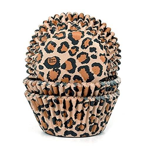 House of Marie Muffinförmchen/Cupcakeförmchen mit Leopard-Muster aus Papier 50 Stück