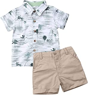 Toddler Baby Boys Clothes Short Sleeve Button Down Shirts Tops Shorts Pants Set 2pcs Summer Casual Outfits 1-6T