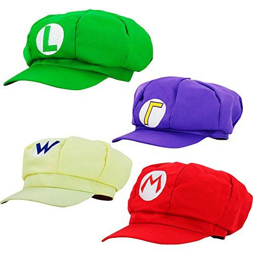 thematys Super Mario Mütze Luigi Wario Waluigi - 4er Kostüm-Set für Erwachsene & Kinder - perfekt für Fasching, Karneval & Cosplay - Klassische Cappy Cap