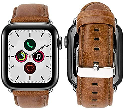 Correa de Piel Compatible con Apple Watch Band 44mm 42mm para Series 6 5 4 3 2 1 Genuine Piel de Becerro Suave y Blando (Brown Slim Silver)