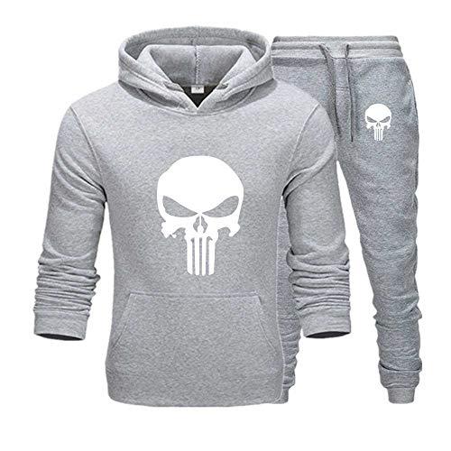 zhtao Langarm-Hoodie-Sweatshirt Mit Totenkopf Bedruckt Kleine Fußhose L/dunkelgrauer Mantel schwarzer Schädel Schwarze Hose