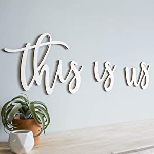 22 in - 50 in Wide This Is Us Sign Wood Letters Script Home Decor Wall Words Cursive Cutout Unfinished Ready to Paint Family Name