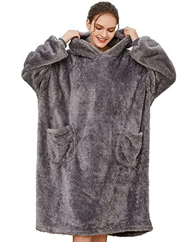 Tuopuda Übergroße Hoodie Sweatshirt Damen Herren Decke Sweatshirt Pullover mit Kapuze Langarm Kapuzenpullover Oversized Pulli mit Taschen Super Weiche Gemütliche Warme Riesen-Hoodie Shirt, Grau