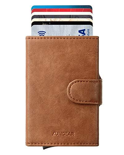 LUNGEAR Carteras | tarjeteros para Tarjetas de credito, Bloqueo RFID Automático Billetera pequeñas, para Hombres y Mujeres, marrón
