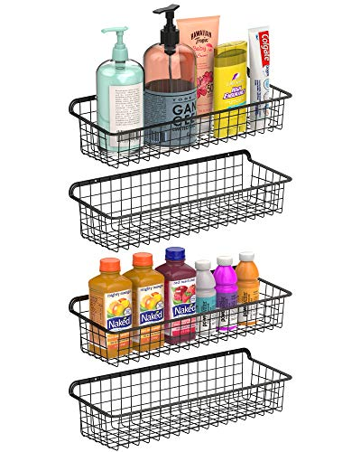 F-color Wall Mounted Wire Baskets Multifunctional Wire Storage Baskets for Home Office Kitchen Bathroom Laundry Living Room Large Metal Storage Basket with Wall Mount Hooks 4 Pack Black