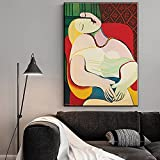 Avdgfr HD Printed on Canvas-[Picasso's Dream Woman Abstract] Canvas Prints for Bedroom-Art Pictures For Wall Suitable For Living Room, Bedroom, Office 40X60cm Frameless