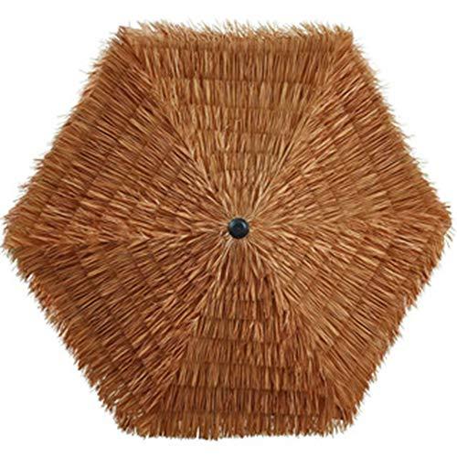 Sombrilla Hawaiana 2.4m Ø 38mm Sombrilla de Playa imitación Rafia Paja manivela para jardín/Patio/terraza/Piscina Color Natural CMXZ