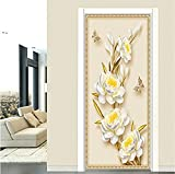 Etiqueta de la puerta 3D Etiqueta de la puerta 3D Stereo Flowers Wallpaper Sala de estar Sala de estudio Decoración para el hogar Tatuajes de pared Pvc Pared autoadhesiva 2 Piezas/Set