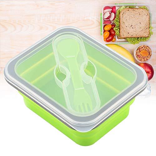 【𝐒𝐞𝐦𝐚𝐧𝐚 𝐒𝐚𝐧𝐭𝐚】 Fiambrera plegable, recipiente de almacenamiento de alimentos de tazón plegable de silicona con kits de cubiertos(Verde)