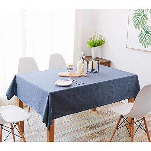 Uniguardian Chiffon Housse de table en lin Coton Look étanche Facile à nettoyer et à la poussière rectangulaire Table pliante carrée Coque Nappe fête de mariage Hôtel Housse de table, Coton, bleu marine, 130cm x 130cm