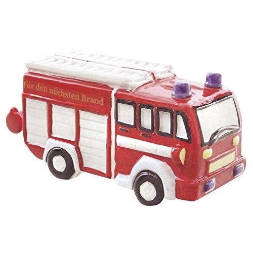Spardose Keramik 22cm Feuerwehrauto mit Schloss Liefermenge = 1