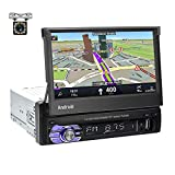 UNITOPSCI Single Din Android 10.1 Car Radio Bluetooth Car Stereo GPS Navigation Stereo 7 Inch Touch Screen Car MP5 Player 1G 16G Support WiFi FM Radio Mirror Link SWC USB/AUX in Slot + Backup Camera