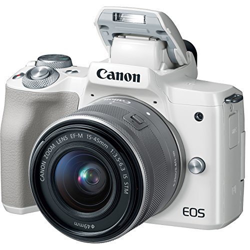 Canon EOS M50 Mirrorless Digital Camera White with EF-M 15-45mm is STM Lens Bundle with 32GB Memory Card, Dual Battery, Shotgun Mic, Backpack, Tripod and Accessories (12 Items)