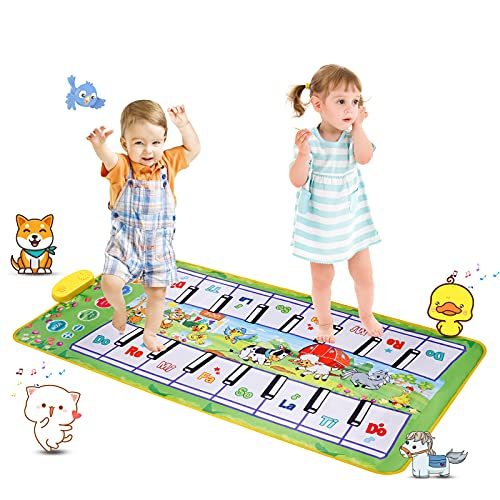 ピアノマット SANMERSEN おもちゃ ピアノ 二人版 10鍵盤 鍵盤マット 10曲デモ 8種類動物音 録音機能 OKONモード ピアノ おもちゃ 鍵盤マット スピーカー搭載 ミュージックマット 知育玩具(110 x 36 cm)