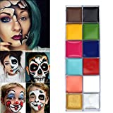 12 Couleurs Palette De Maquillage De Fête, Professionnelle Face Painting Tatouage Visage Corps Peinture Palette Pour Halloween Parade Fête, Pâques, Fête à Thème Déguisements Pour Enfant, Adulte