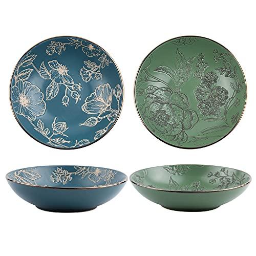 20,3 cm Advanced Porzellan Servierschale und Platte Set, 4PCS Premium Exquisite Patterns Keramik Salat Obstschalen, Mikrowelle Geschirrspüler Safe Pasta Dessertschale (Blaugrün)