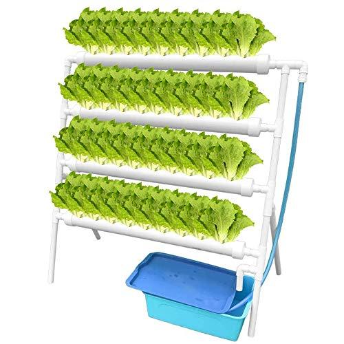 GU YONG TAO Kit de Culture hydroponique - 4 Couches 36 Sites végétaux, système de Culture hydroponique Vertical en PVC avec Pompe à Eau, minuterie, Panier de nid, éponge pour légumes à Feuilles