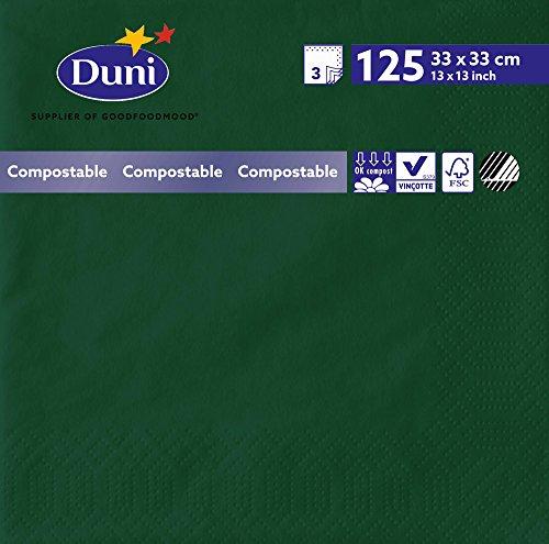 Duni 2592 3 plis Serviettes en papier, 33 cm x 33 cm, Vert foncé (lot de 1000)