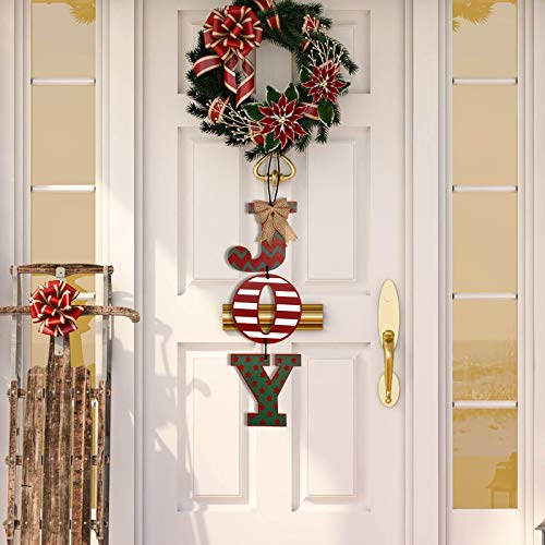 Christmas Decoration Wall Sign, Christmas Joy Sign for Home Decor Letter Wreath Christmas Hanging Wood Letters for Front Door, Wall