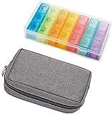 Koitoy Pillendose für 7 Tage, Tablettenbox mit Tasche