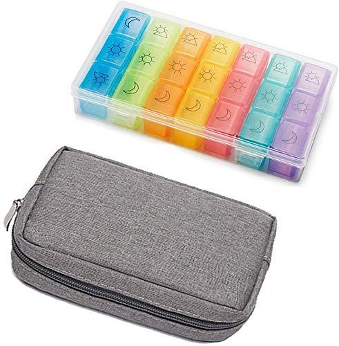 Koitoy Pillendose für 7 Tage, Medikamente Pillenbox Medikamenten-Box Vitamin C Kalziumpille Tablettenbox mit Tasche