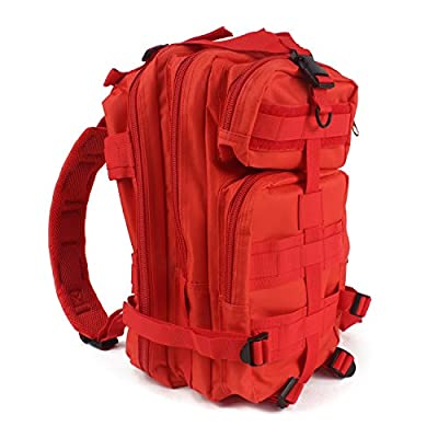 """MediTac Tactical Assault Pack - First Aid Rucksack - 18"""" Military MOLLE Backpack (Red)"""
