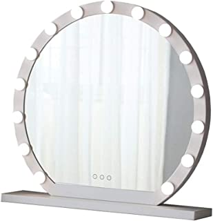 XZPENG Hollywood Makeup Mirror with LED Lights,Round Touch Control Large Tabletop Cosmetic Vanity Mirror with 10/12/15 Dimmer LED Bulbs(White) (Size : Diameter 60cm)