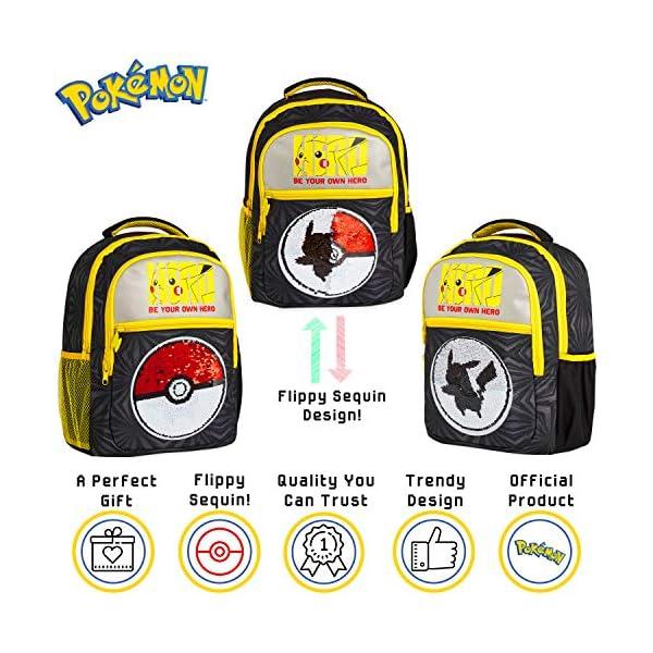 51XQ PHWMLL. SS600  - Pokemon Mochilas Escolares, Mochila Infantil con Diseño Lentejuelas Reversibles, Mochilas Escolares Juveniles con…