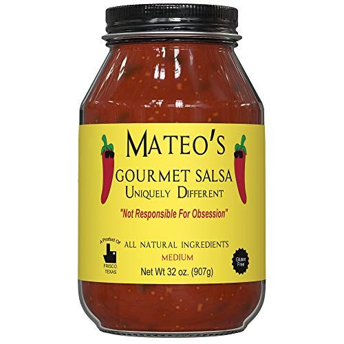 Mateo's Gourmet Salsa - Medium Hot Spicy Salsa Dip for Tortillas, Tacos, Nachos, Chips, Snacks, Salads - No Gluten, Made of Fresh Tomatoes & Jalapeno Peppers - Product of Frisco, Texas - 32oz Jar