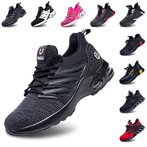 Zapatos de Seguridad Hombre Mujer Ligeros Zapatillas de Trabajo Calzado con Punta de Acero Deportivo Comodo Unisex Negro 42