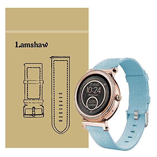 Ceston Moda Nylon Clásico Correas para Smartwatch Michael Kors Sofie (18mm, Azul)