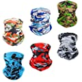 Bandana Face Mask Sun UV Protection & Outdoor Neck Gaiters for Men Yoga Hiking Cycling(6 PCS)…
