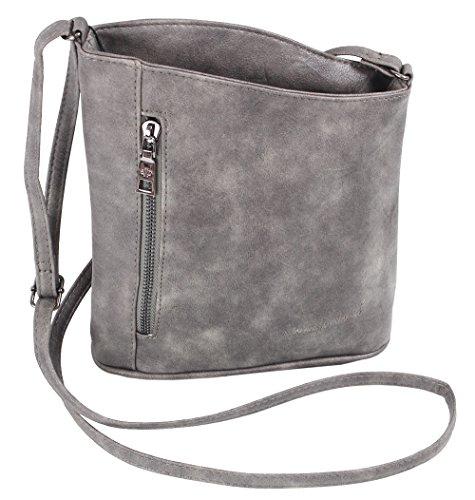 Jennifer Jones Taschen Damen Damentasche Handtasche Schultertasche Umhängetasche Tasche klein Crossbody Bag XS grau / anthrazit (3107)