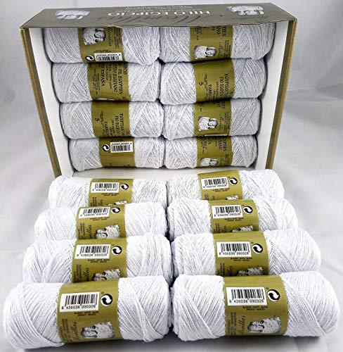 ▷ Pack de 16 Zepelines Ne 5/2 color blanco punto azul de algodón perlé 100% egipcio mercerizado para tejer labores de ganchillo o punto con un acabado elegante.