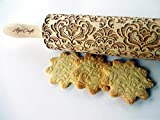 DAMASK ROLLING PIN Embossed cookies with flowers...