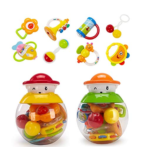 GOODWAY Baby Rattle Teether Rattles Toys, 8 pcs Grab, Shaker and Spin Rattle Toy Early Educational Toys with Cute Bear Bottle Gifts Set for 3, 6, 9, 12 Month Newborn Infant Baby, Boy, Girl