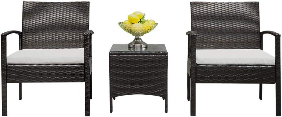 SunnyLisa 3 Piece Patio Furniture 67% OFF of Super sale period limited fixed price Outdoor Set Wicker Pati