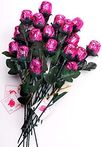 Madelaine Chocolate One Dozen Sweetheart Roses - Premium 1/2 OZ Solid Milk Chocolate Roses Wrapped in Italian Foils - Chocolate Flower Bouquet (Pink, 12 Pack)