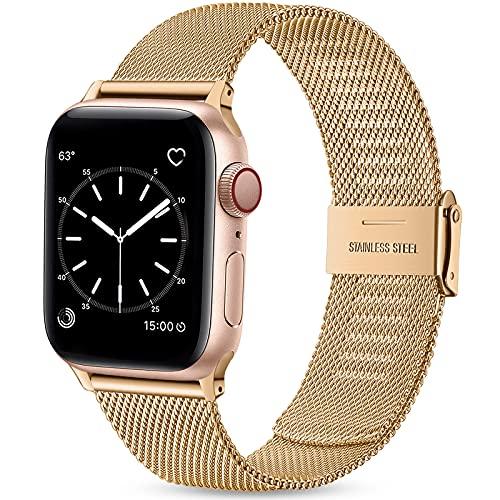 Wepro Ersatzarmband Kompatibel mit Apple Watch Armband 44mm 42mm für Damen/Herren, Klassisches Mesh Metall Uhrenarmband für Apple Watch SE/iWatch Series 6 5 4 3 2 1, 44mm 42mm/Königliches Gold